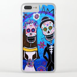 Dia de los Muertos Special Wedding Calavera Painting Clear iPhone Case