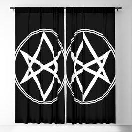 Men of Letters Symbol White Blackout Curtain