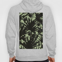Modern black green abstract tropical leaves Hoody