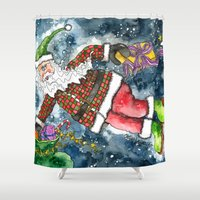 santa Shower Curtains featuring Santa by Shelley Ylst Art