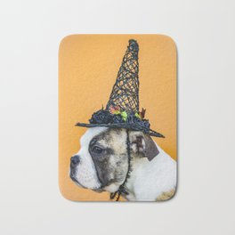 Beautiful Profile of a Bulldog Wearing a Witch Hat for Halloween Bath Mat
