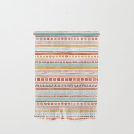 Boho Stripes - Watercolour pattern in rusts, turquoise & mustard. Nursery print Wall Hanging