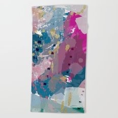 8: a bright abstract in blues pinks and golds Beach Towel
