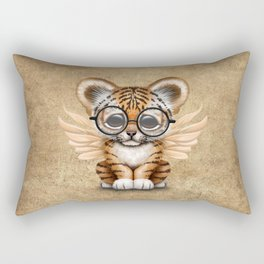 Tiger Cub with Fairy Wings Wearing Glasses Rectangular Pillow