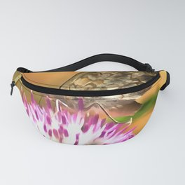Wall Brown Butterfly On Thistle Fanny Pack