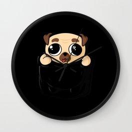 Pocket Pug Puppy Wall Clock