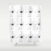 skeleton Shower Curtains featuring skeleton by Astro Nascha