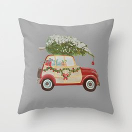 Vintage tree on red car gray background Throw Pillow