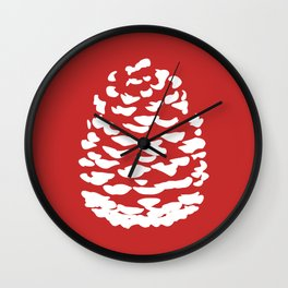Pinecone Red and White Wall Clock
