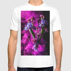 Purple Floral Smoke Bouquet  MEDIUM Mens Fitted Tee White