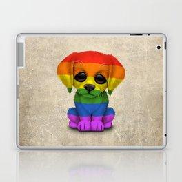 Cute Puppy Dog with Gay Pride Rainbow Flag Laptop & iPad Skin