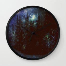 Galaxy Forest Deep Dark Blue & Green Wall Clock