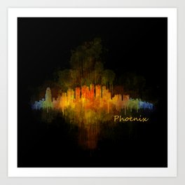 Phoenix Arizona, City Skyline Cityscape Hq v4 Dark Art Print