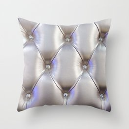 Silvery leather with rhinestone decoration Throw Pillow