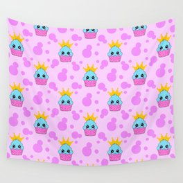 Cute happy little princess baby kawaii cupcakes, bold pink retro dots nursery pattern Wall Tapestry