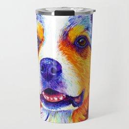 Colorful Blue Merle Australian Shepherd Dog Travel Mug