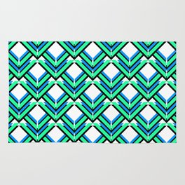 Blue Green Pattern Rug