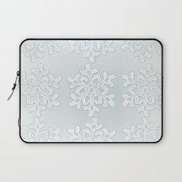 Crocheted Snowflake Ornaments on teal mist Laptop Sleeve