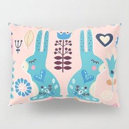 Soft And Sweet Scandinavian Bunny Rabbit Folk Art Pillow Sham