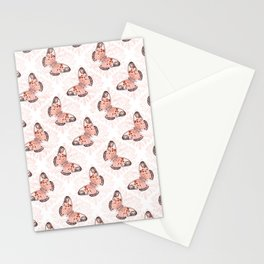 Pretty Coral Butterflies Stationery Cards