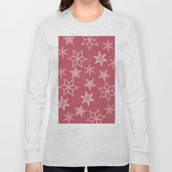 Snowflakes On Pastel Red Background Long Sleeve T-shirt