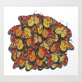 Hibernating Monarch Butterfly / Danaus Plexippus Art Print