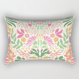 Tropical Pattern in Pink and Green Rectangular Pillow