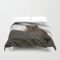 peanuts Duvet Covers featuring Did you bring peanuts? by IowaShots