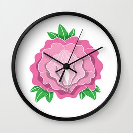 Womens Rose Vagina Womens Shirt Pussy Flower Pussies Vag Puss Gift Wall Clock