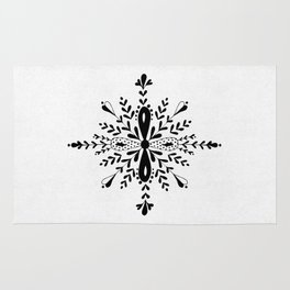 Winter in black and white - Snowflake Rug