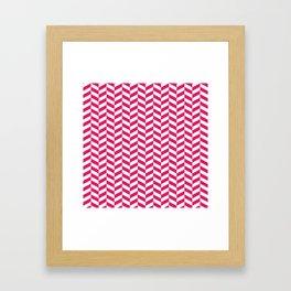Raspberry Red Herringbone Pattern Framed Art Print