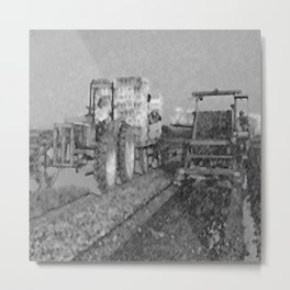 Black & White Harvesting Equipment Pencil Drawing Photo Metal Print