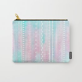 Hand Drawn African Patterns - Pastel Pink & Turquoise Carry-All Pouch