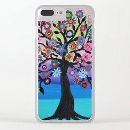 Whimsical Blooming Love Tree of Life Painting Clear iPhone Case