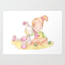 Baby girl and her bunny Art Print