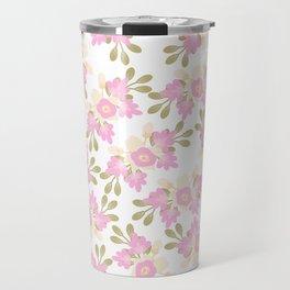 Pink coral green hand painted floral illustration Travel Mug