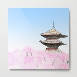 Temple and sakura Metal Print