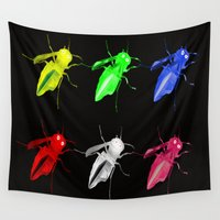 insects Wall Tapestries featuring Neon insects by LoRo  Art & Pictures