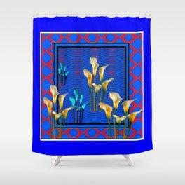 Blue Art White Calla Lilies Red Patterns Shower Curtain