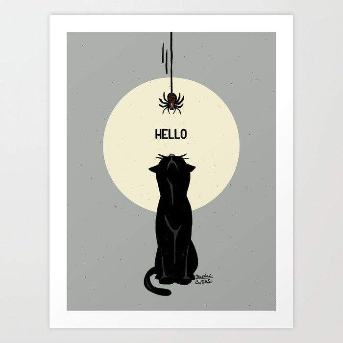 Spider and cat Art Print