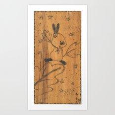 Cute little animal on wood Art Print