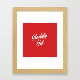 Glaedelig Jul Red Background Framed Art Print
