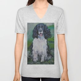 English Springer Spaniel dog art from an original painting by L.A.Shepard Unisex V-Neck