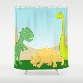 Friendly dinosaurs Shower Curtain