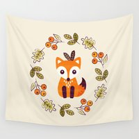 allyson johnson Wall Tapestries featuring LITTLE FOX WITH AUTUMN BERRIES by Daisy Beatrice