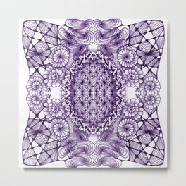 Grape Wash Zentangle Tile Doodle Design Metal Print