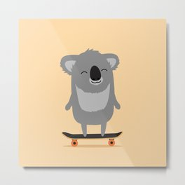 Cute cartoon koala skateboarding Metal Print