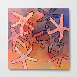 Colorful Sea Stars Mixed Media Art Metal Print