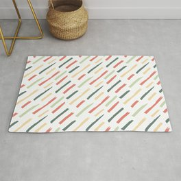 Abstract Ink Lines Pattern - Coral Green and White Rug