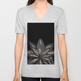 Gray Black Agave with Rose Gold Glitter #1 #shiny #tropical #decor #art #society6 Unisex V-Neck